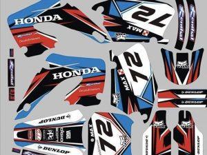 Kit DÉco Honda Cr 125 250 2000 2001 Red Blue