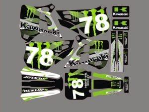Kit Deco Kawasaki Kx 125 1990 1991 Monster Green