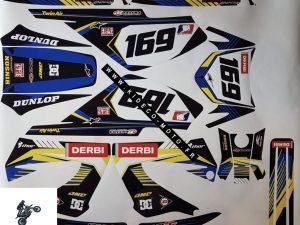 Kit DÉco Derbi Xtreme Xrace Avant 2011 Blue Yellow