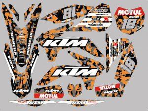 Kit Deco Ktm Exc Excf Sx Sxf Enduro Supermotard Motocross Orange Camouflage