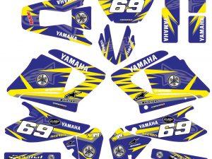 Kit Deco Moto Yamaha 125 Dt Dtr Dtre Dtx Alpinstars Bleu Jaune